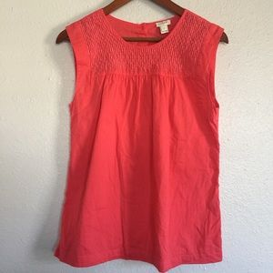J Crew Pink Sleeveless Embroidered Top sz 2
